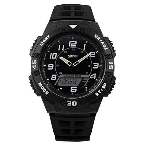 ufengke®fraîches sports imperméable Dual Time jour jour lumineux calendrier horloge alarme horloge lumière montre à bracelet pour hommes garçons blanc