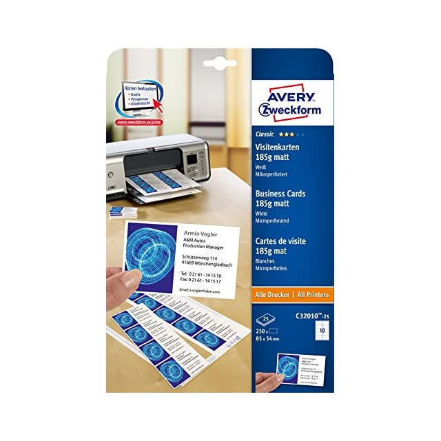 Mat C32010 Avery 100 Cartes De Visite Microperforees 185g A4