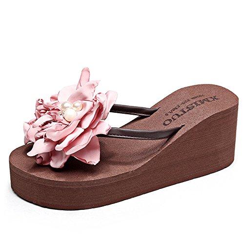 TONGS SANDALES 7cm Sandales Chaussures de plage flip flop pour femmes / filles (18-40 ans) élégant Marron