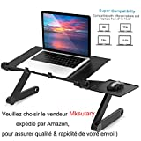 Mksutary Support Table de Lit Pliable Inclinable Lapdesk pour PC Ordinateur Portable - Noir