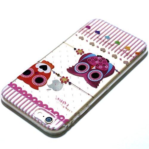 iPhone 6 / 6s Hülle, E-Lush TPU Soft Silikon Tasche Transparent Schale Clear Klar Hanytasche für iPhone 6 / 6s Durchsichtig Rückschale Ultra Slim Thin Dünne Schutzhülle Weiche Flexibel Handyhülle Krat Karikatureule