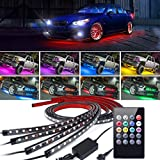 Underglow LED Kit de luz, 4Pcs Coche de Alta Intensidad de neón atmósfera Decorativa Franja de luz, Underbody Sistema Impermeable Tubo RGB 8 Color,90 * 120