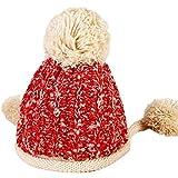 Hosaire 1x Mütze Warme Strickmütze Mode Plüschkugel Anhänger Doppelschicht Warm Gestrickter Mütze Hut Damen Mädchen Winter Wollmütze Beanie Hüte Hut Strickmütze
