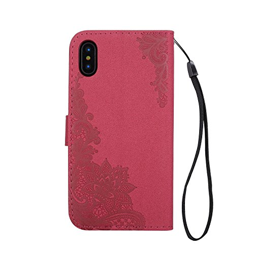 GR iPhone X Case-Phenix Blumen Prägemuster Faux Leder Horiontal Folio Stand Case mit Lanyard Card Slots ( Color : Black ) Red