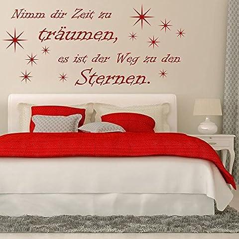 prends le temps de rêver, il est le chemin vers les étoiles.–Sticker mural (Sticker mural décoration murale Wohndeko Salon Chambre d'enfant chambre mur des autocollants), rose bonbon, 223 x