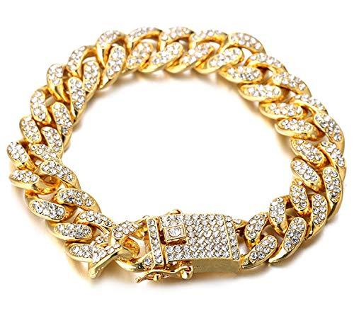 """Halukakah ● Bling ● Uomo Placcato Oro Reale 18k Set di Diamanti Artificiali Grande Catena Cubana Braccialetto 8""""(20cm) con Pacco Regalo Gratuita"""