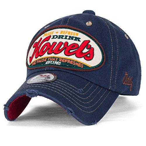 ililily Howel's abgenutztes Aussehen klassischer Stil Solid Farbe Baumwolle Baseball Cap Trucker Cap Hut , Prussian Blue