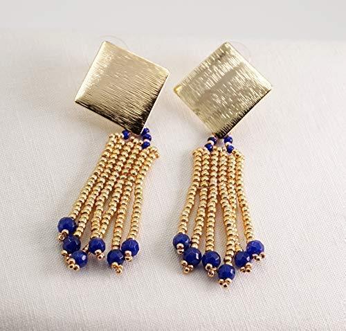 Orecchini a frangia con perline oro e pietre dure di zaffiro radice, con perno a rombo oro