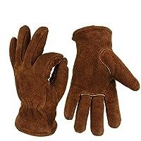Yhjklm Leather Work Gloves for Gardening,Yard Work, Farm Winter Cold Warm Wear-resistant Gloves Garden Work Gloves Construction, Warehouse, Motorcycle, Men & Women (Color : Brown, Size : L)
