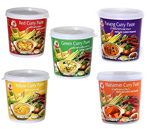 Cock Brand - Probierset Currypasten - 5er Pack (5 x 400g) - 5 Sorten, je 1 Dose (Thai Curry Red Paste)