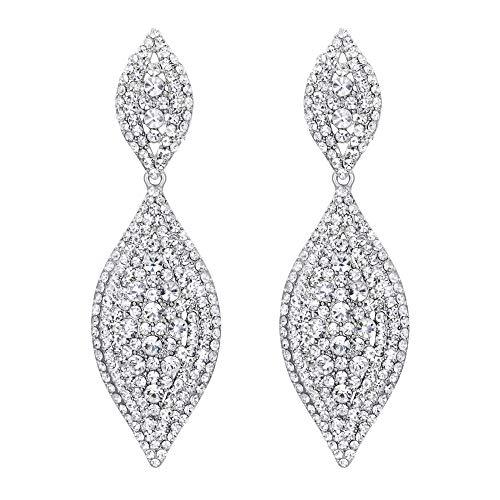 EVER FAITH Damen österreichische kristall hochzeit braut charme 2 blatt tropfen baumeln ohrringe Klar silber-ton