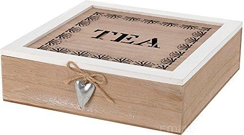 Vintage Teebox aus Holz mit 9 Fächern und Holzdeckel