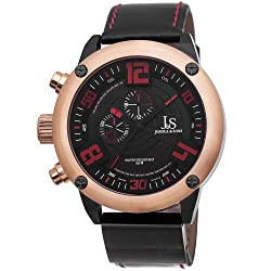 Joshua & Sons Mens JS70RG Rose Gold Multifunction Swiss Quartz Watch with Red Accented Black Dial and Black Leather Strap