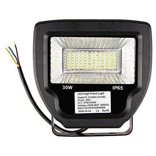 LED Fluter 30W/50W/70W, Cocare T31 Flutlicht Warmweiß/Kaltweiß Scheinwerfer Außenstrahler IP65 120°Abstrahlwinkel Wasserdicht Außenleuchte Wandstrahler(30W Kaltweiß)