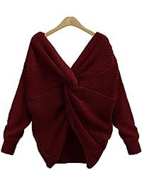 ffc60375869caa Vertvie Damen Pullover V Ausschnitt Lose mit Langen Ärmeln Sexy Pullover  Asymmetrische Knoten Pulli