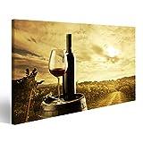islandburner Bild Bilder auf Leinwand Wein Flasche Fass Toskana Weinberge Poster, Leinwandbild, Wandbilder