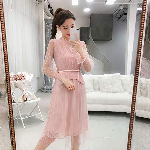 YIFUDAJIA Set weibliches Herbsttemperament Schlankes langärmliges Netzkleid + Strickweste, Zweiteiliger Anzug, S, pink