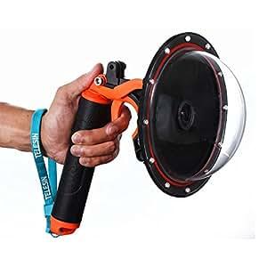 "TELESIN 6"" Underwater T03 Dome Port with Pistol Trigger Gadget for the Gopro Hero3/3+/4---Orange"