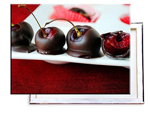 Unified Distribution Kirschen in Schokolade süß - 80x60 cm - Bilder & Kunstdrucke fertig auf Leinwand aufgespannt und in erstklassiger Druckqualität -