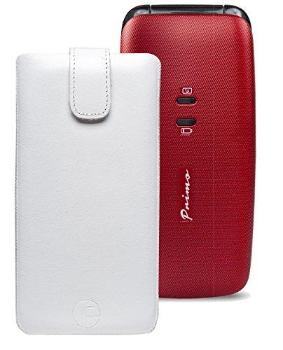 Original Favory Etui Tasche für / DORO Primo 401 / Leder Handytasche Ledertasche Schutzhülle Case Hülle *Speziell - Lasche mit Rückzugfunktion* in weiss