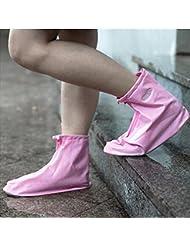 HHBO Impermeable zapato de cubierta gruesa lluvia botas de moda impermeable zapatos botas , xl , pink flat