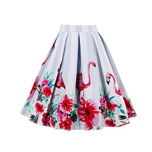 Lover-Beauty Falda Mujer Corto Vintage Hepbuern con Vestido Tutu Elegante para Fiesta y Diario como Paraguas S-XXL Algodón Promoción