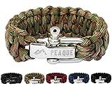 PEAQUE Survival Armband aus Paracord - inkl. eBook - verstellbarer Edelstahlverschluss - breites Überlebens-Armband aus echter Fallschirmschnur