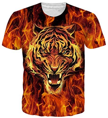 Kostüm Eisen Mann Mädchen - Goodstoworld 3D T Shirt Tiger Animal Druck Herren Damen Printed Sommer Lustig Hippie Beiläufige Kurzarm T-Shirts Tshirt L