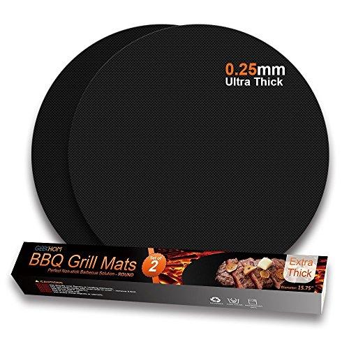 GEEKHOM Grillmatte für Barbecue Ultra-dicke Backmatte Antihaft-Hitzebeständige Geschirrspülmaschine Wiederverwendbar für Barbecue Holzkohlegrill im Freien (Schwarz, 2er Set)
