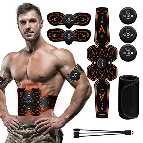 A-TION EMS Trainingsgerät Bauchmuskeltrainer Elektrisch Gürtel, Muskelaufbau Elektrostimulation mit 6 Modi & 10 Funktionen Fitness Geräte für Arme Bauch und Beine (Umfassen Straffender Gürtel)