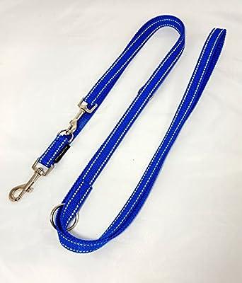Hundeleine Doppelleine Gurtband reflektierend 20mm 2,80m blau 4fach verstellbar für mittlere und große Hunde Hunde
