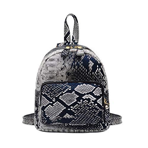Schultasche Damen Rucksack Elegant handtaschen Mädchen Schule Student Im Freien Reise Backpack Anti Diebstahl Taschen Qmber,Fashion Leopard Snake Bag Handtasche,Gray