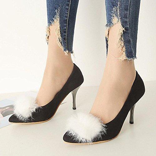 TAOFFEN Damen Western Stiletto Schuhe Pointed Toe Hochzeit Pumps Schwarz