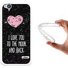 Funda ZTE Blade S6 Flex, WoowCase [ ZTE Blade S6 Flex ] Funda Silicona Gel Flexible Corazón Frase Amor - I Love You To The Moon And Back, Carcasa Case TPU Silicona