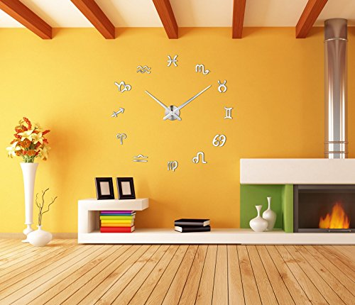 Horleora Modern Mute DIY Gran Reloj de Pared 3D Mirror Sticker Reloj para Home Decor Home Office Hotel Restaurante y Regalo Único para padres, amante, amigo, etc. (constelación)