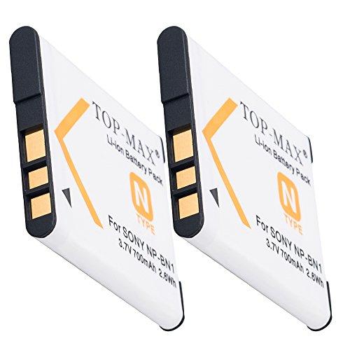TOP-MAX® 2x NP-BN1 Akku (700mAh) für Sony DSC QX10 QX100 -- Sony W830 W810 W730 W710 W610 W620 W630 W650 W670 W690 W510 W530 W550 W560 W570 W580 W320 W350 W180 W190 -- WX200 WX80 WX60 WX150 WX100 WX70 WX50 WX30 WX7 WX9 WX5 -- TF1 -- T110 T99 -- TX5 TX7 TX9 TX10 TX55 TX100V
