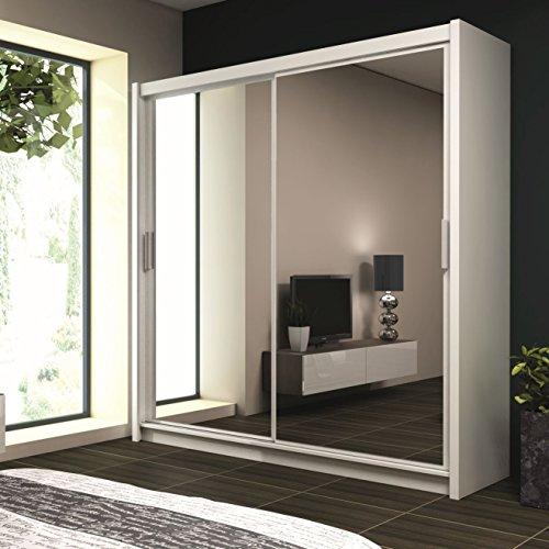 Schiebetürenschrank - Kleiderschrank - Schwebetürenschrank EIFFEL in Weiß, mit Spiegel, Breite: 120cm/150cm/160cm/203cm