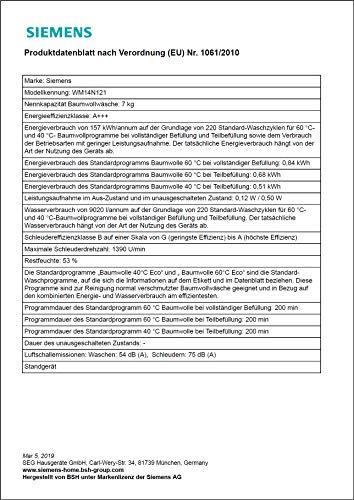 Siemens iQ300 WM14N121 Waschmaschine / 7,00 kg / A+++ / 157 kWh / 1.400 U/min / Schnellwaschprogramm / Nachlegefunktion / Hygiene Programm / - 3