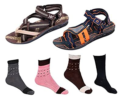 IndiWeaves Boys Combo Pack (Pack of 2 Boys Sandal and 4 Cotton Socks)-Size-1