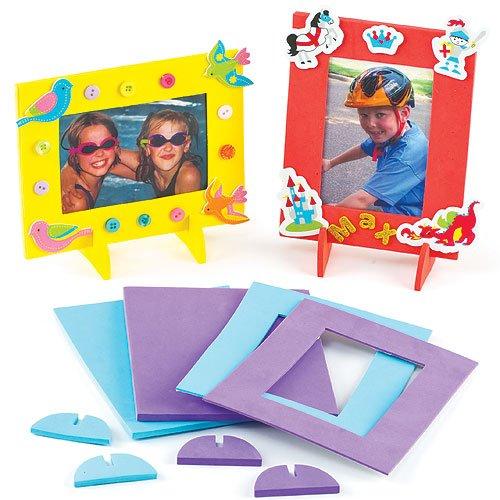 Lot de 4 Cadres Photo en Mousse colorés - Motif Théière - Idéal comme cadeau pour la fête des mères et des grands mères