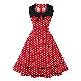 Lazzboy Cocktailkleid Kleid Frauen-Sleeveless-Punkt-Druckweinlese-Abendparty-Midi-Schwingenkleid(XL,Rot)