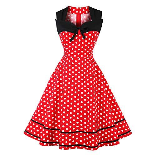 Lazzboy Cocktailkleid Kleid Frauen-Sleeveless-Punkt-Druckweinlese-Abendparty-Midi-Schwingenkleid(4XL,Rot)