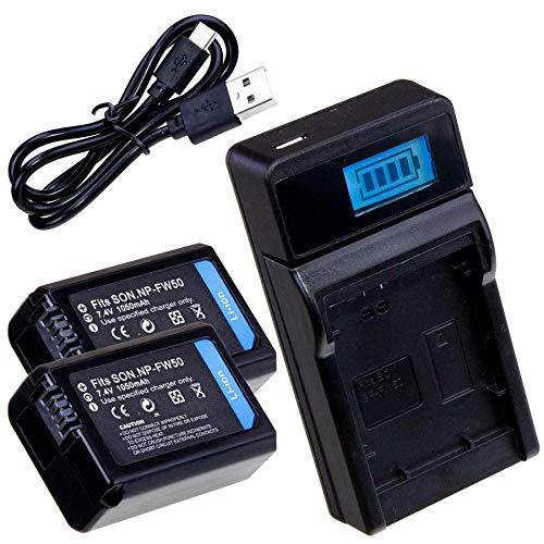 LUMOS Ladegerät + 2X Akku NP-FW50 passt zu Sony Alpha 5000 5100 6000 6300 6400 6500 A7 RX10 NEX | Ersatzakku Set