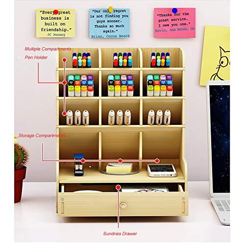 Wooden Desk Organiser Multi-Functional Drawer Stationery Desktop Storage Box Desk Tidy Pen Holder for Home, Office and School (White Maple)