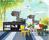 YUANLINGWEI Benutzerdefinierte Wandbild Tapete Cartoon Tier Zebra Bäume Muster Kinderzimmer Wand Dekoration Wandbild Tapete,100Cm (H) X 200Cm (W)