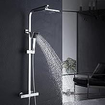 200x200mm Alcachofa de ducha con 38ºC Termostato De Ducha Regulable en Altura y unos 82 a 122 cm G 1/2'' de la Ducha Incluida con mezclador termostático
