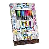 ONLINE 11 Calli.Brush Double-Tip Pens mit Kalligrafie-Spitze 2 mm und flexibler Pinselspitze, intensive Farben , in Geschenkverpackung