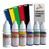 SUPER PREIS! AIRBRUSH FARBEN 19-er SET auf Alkoholbasis für Airbrush Kompressor und Airbrushpistole Grundausstattung für jedes AirbrushSet GESCHENKVERPACKUNG universal einsetzbar für Airbrush-Tattoo geeignet -