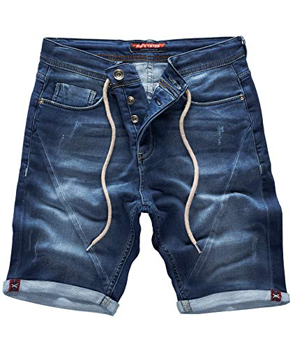 Rock Creek Herren Sweat Shorts Jeansshorts Denim Short Kurze Hose Herrenshorts Sommer Sweatshort Stretch Bermudas Dunkelblau RC-2200 Harbour Blue W30