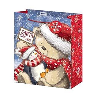 ALANNAHS ACCESSORIES Bag Xmas Present Holders Storage Novelty Large/XL Santa Robin -Large -Cute Bear 2 Bags